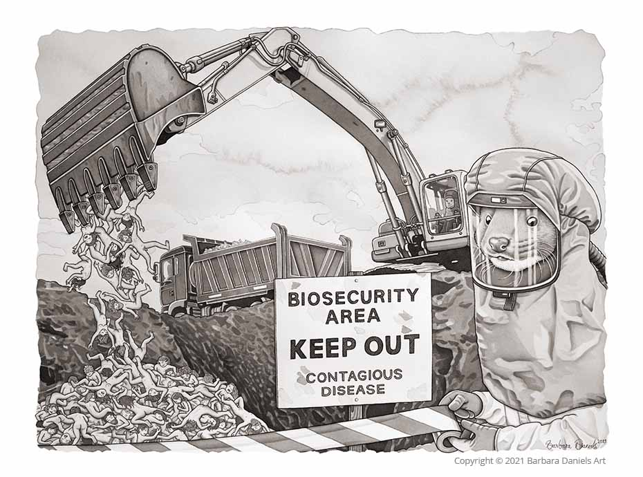 Biosecurity, Pen and India Ink on Watercolour Paper, 2021