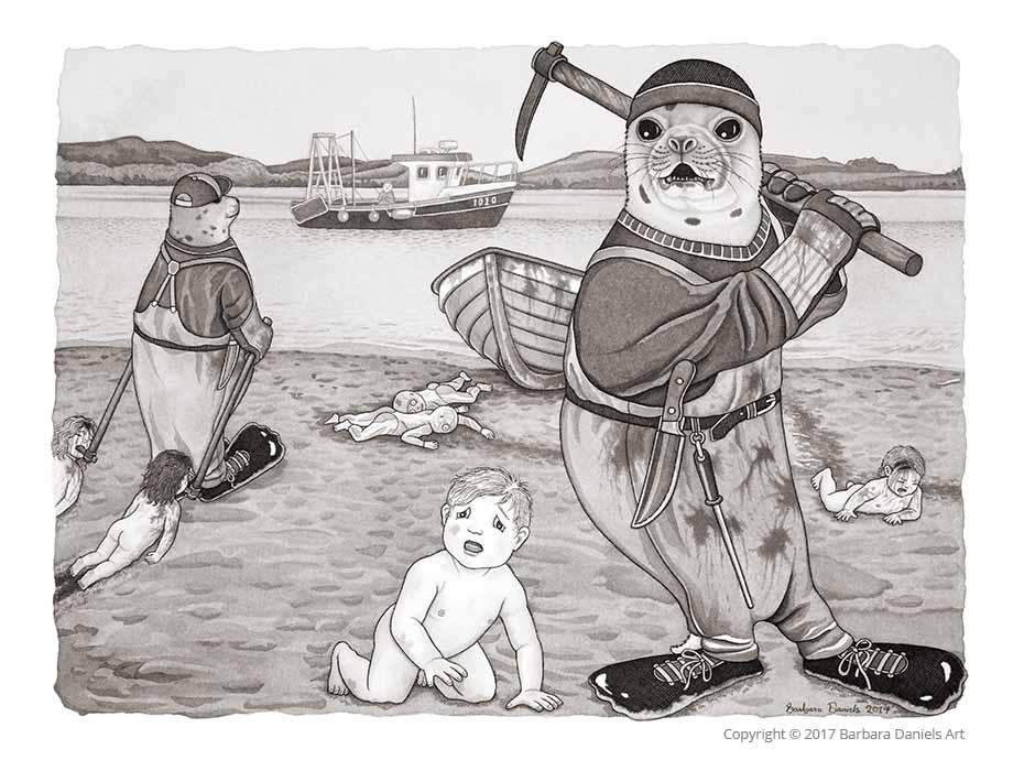 Commercial Man Hunt, Pen and India Ink on Watercolour Paper, 2017