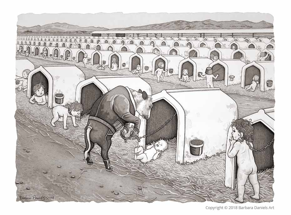 Dairy Baby Housing, Pen and India Ink on Watercolour Paper, 2018