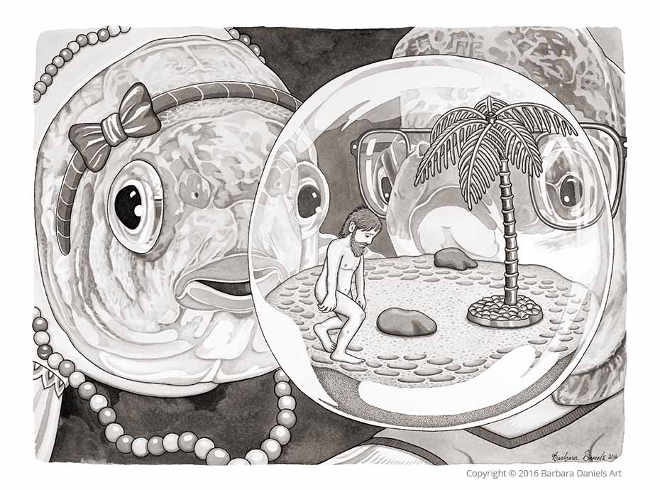 Man Bowl, Pen and India Ink on Watercolour Paper, 2016
