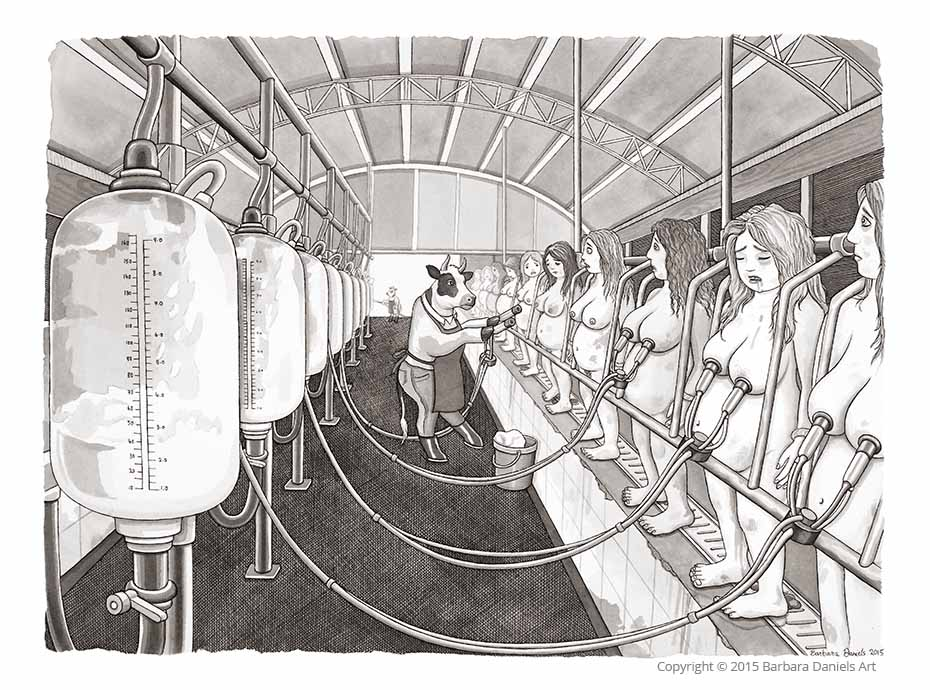 Milking Parlour, Pen and India Ink on Watercolour Paper, 2015