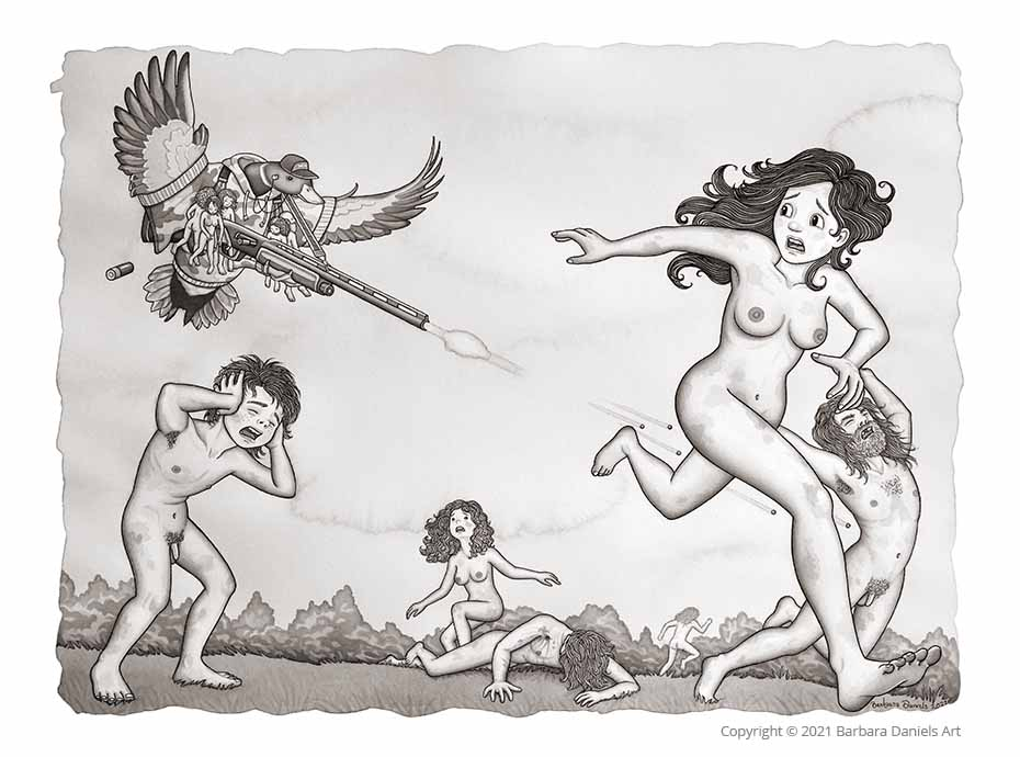 Small Game Hunting, Pen and India Ink on Watercolour Paper, 2021